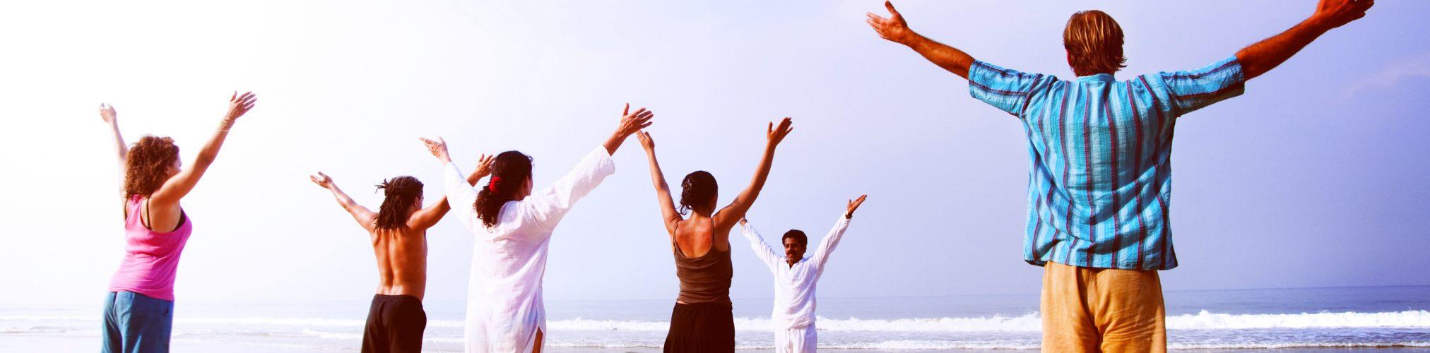 Yoga Class Beach Outdoor Horizon Relaxation Sky Concept